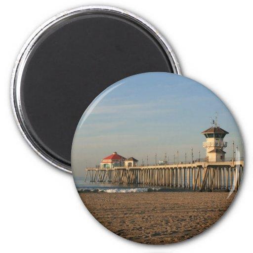 Huntington Beach pier 2 Inch Round Magnet