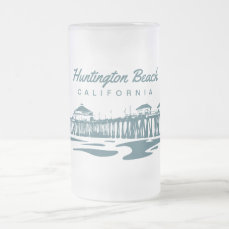 Huntington Beach Pier, CA - Custom Illustration Frosted Glass Beer Mug