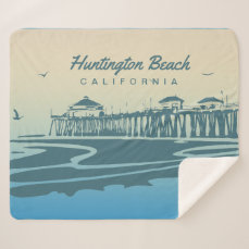 Huntington Beach Pier, CA - Custom Illustration Sherpa Blanket