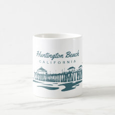 Huntington Beach Pier, California - Custom Design Coffee Mug