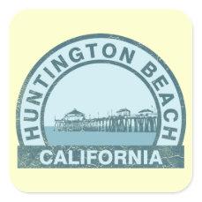 Huntington Beach Pier Square Sticker