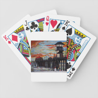 Huntington Beach Pier Sunset Bicycle Playing Cards
