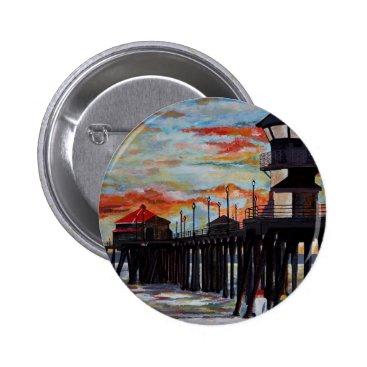 Beach Themed Huntington Beach Pier Sunset Button