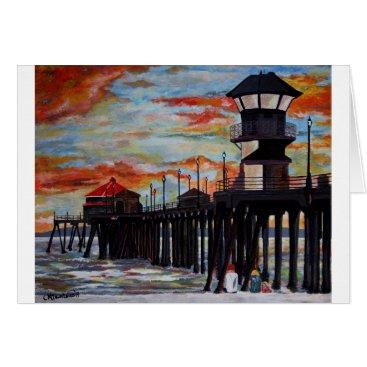 Beach Themed Huntington Beach Pier Sunset Card