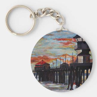 Huntington Beach Pier Sunset Keychain