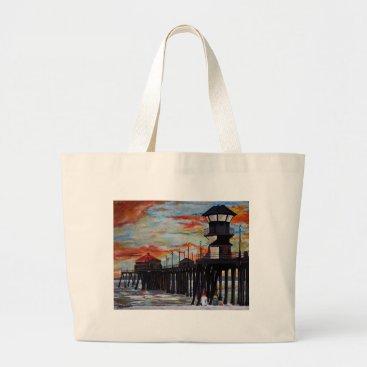 Beach Themed Huntington Beach Pier Sunset Large Tote Bag