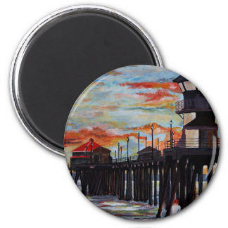Huntington Beach Pier Sunset Magnet