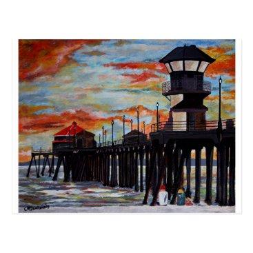 Beach Themed Huntington Beach Pier Sunset Postcard