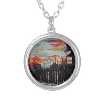 Beach Themed Huntington Beach Pier Sunset Silver Plated Necklace