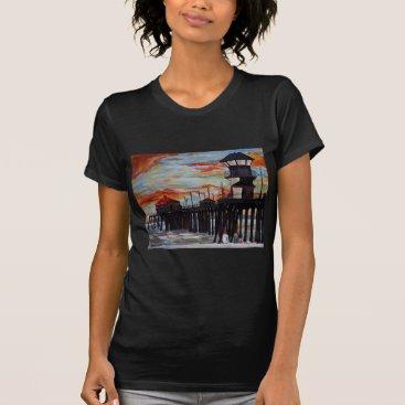 Beach Themed Huntington Beach Pier Sunset T-Shirt