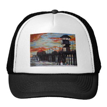Beach Themed Huntington Beach Pier Sunset Trucker Hat