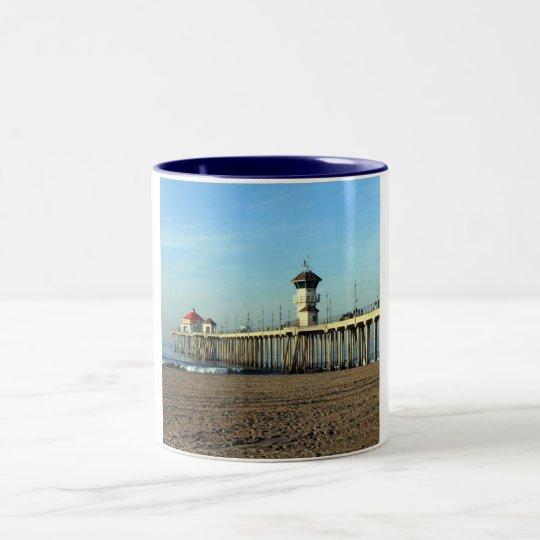 Huntington Beach Pier Two-Tone Coffee Mug