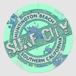 Huntington Beach Southern California Surf City Classic Round Sticker