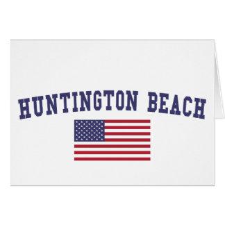 Huntington Beach US Flag Card