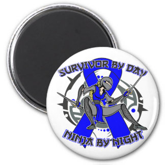 Huntington Disease Survivor By Day Ninja By Night 2 Inch Round Magnet