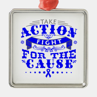 Huntington Disease Take Action Fight For The Cause Square Metal Christmas Ornament