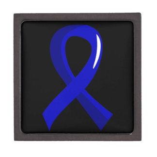 Huntington's Disease Blue Ribbon 3 Keepsake Box