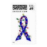 Huntington's Disease Christmas Lights Ribbon Postage Stamp