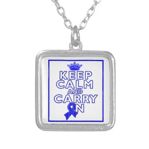 Huntington's Disease Keep Calm and Carry ON Personalized Necklace