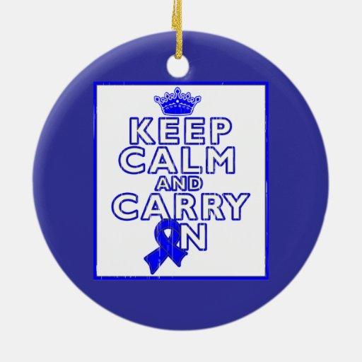 Huntington's Disease Keep Calm and Carry ON Ornaments