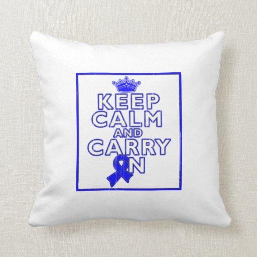 Huntington's Disease Keep Calm and Carry ON Throw Pillows
