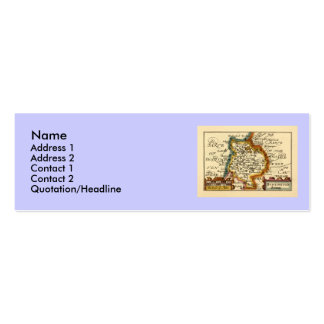 """Huntingtonshire"" Huntingdonshire County Map Double-Sided Mini Business Cards (Pack Of 20)"