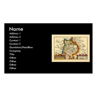 """""""Huntingtonshire"""" Huntingdonshire County Map Double-Sided Standard Business Cards (Pack Of 100)"""