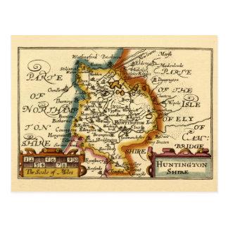 """Huntingtonshire"" Huntingdonshire County Map Postcard"