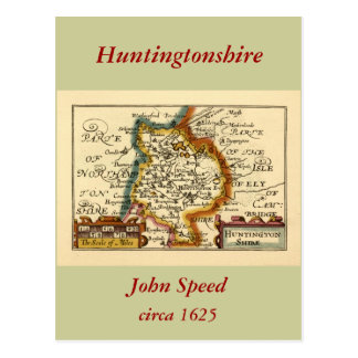 """Huntingtonshire"" Huntingdonshire County Map Postcard"