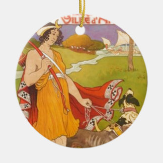 Huntress and Dogs Ceramic Ornament