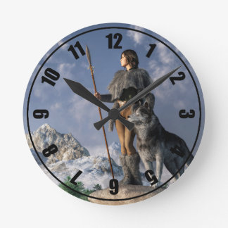 Huntress and Wolf Round Clock