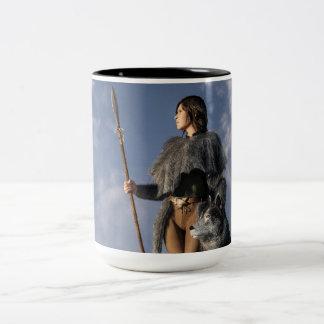 Huntress and Wolf Two-Tone Coffee Mug