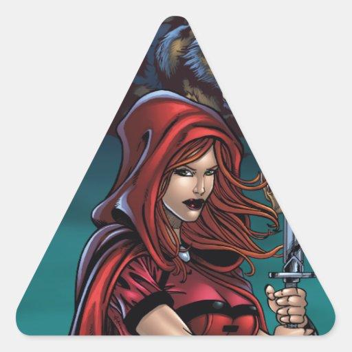 Huntress del escarlata contra hombres lobos pegatina triangular