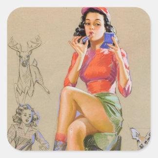 Huntress Pin Up Art Square Sticker