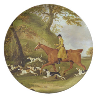 Huntsman and Hounds, 1809 (oil on canvas) Dinner Plate
