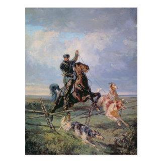 Huntsman con los Borzois, 1872 Postal