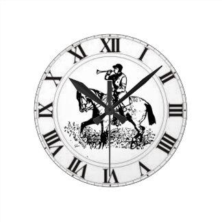 Huntsman Horn Fox Hunt Master Hunter Horse Round Clock