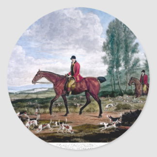 Huntsman to his majestys harriers classic round sticker