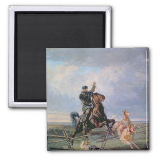 Huntsman with the Borzois, 1872 2 Inch Square Magnet