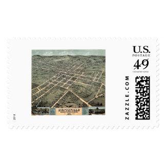 Huntsville, AL Panoramic Map - 1871 Postage Stamp
