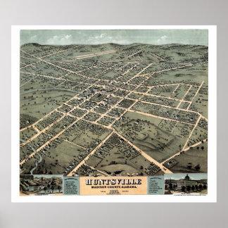 Huntsville, AL Panoramic Map - 1871 Print