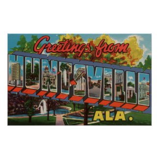 Huntsville, Alabama - Large Letter Scenes Poster