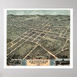 Huntsville, mapa panorámico del AL - 1871 Póster
