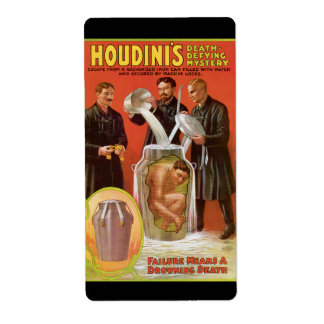 Huodini's Death Defying Mystery, 1908 Poster Shipping Label