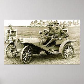 Huppmobile militar 1910 póster