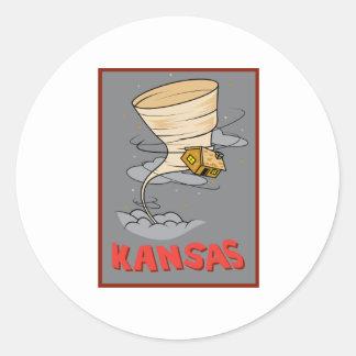 Huracán de Kansas Pegatina Redonda