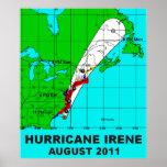 Huracán Irene trayectoria impresión 36 b del poste Posters