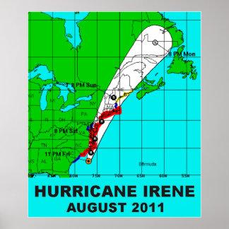 Huracán Irene trayectoria impresión 36 b del Póster