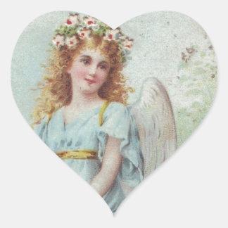 Huracán Sandy - ángel azul del navidad del Pegatina En Forma De Corazón