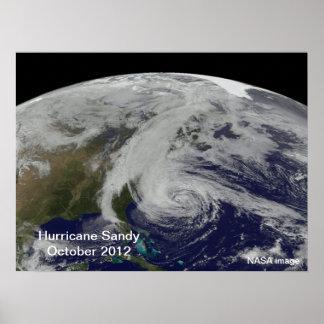 Huracán Sandy del poster del espacio